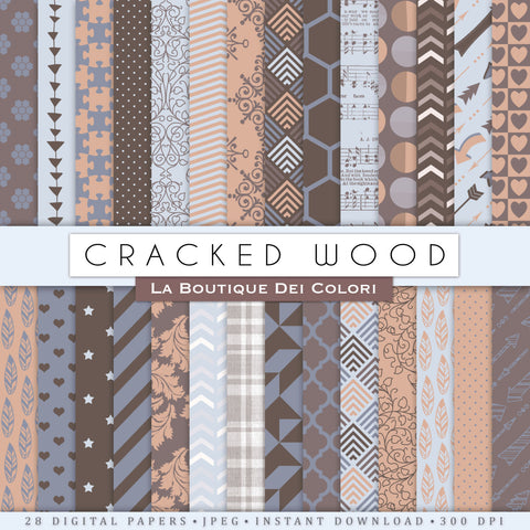 Cracked Wood Digital Paper - La Boutique Dei Colori
