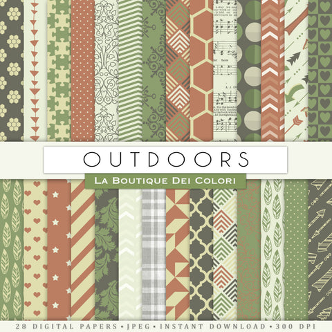 Outdoors Digital Paper - La Boutique Dei Colori