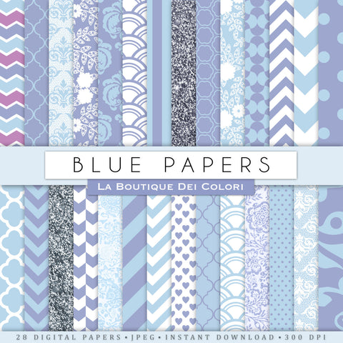 Pastel Blue Digital Paper - La Boutique Dei Colori