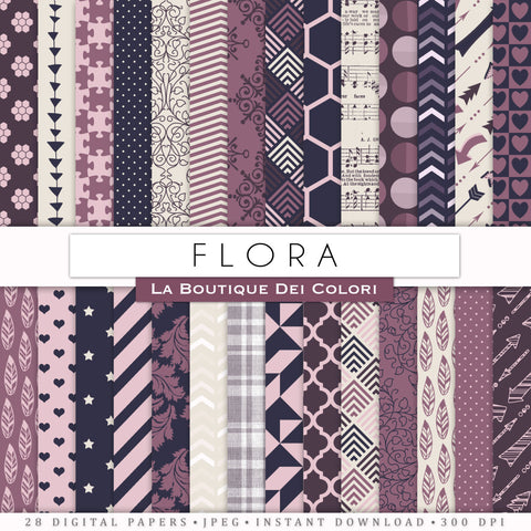 Pink and Navy Digital Paper - La Boutique Dei Colori