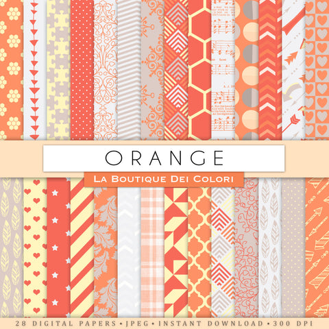 Orange and Gray Digital Paper - La Boutique Dei Colori