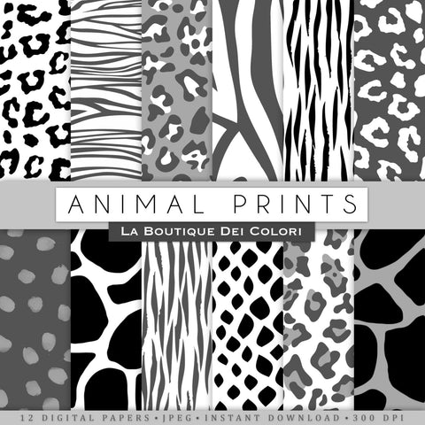 Black and White Animal Prints Digital Paper - La Boutique Dei Colori