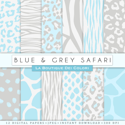 Blue and Gray Animal Prints Digital Paper - La Boutique Dei Colori