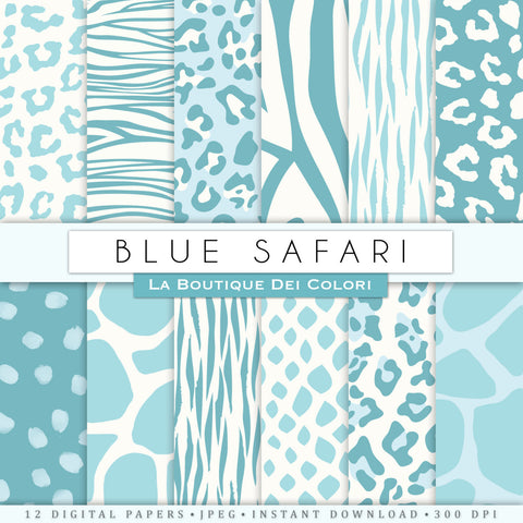 Blue Animal Print Digital Paper - La Boutique Dei Colori