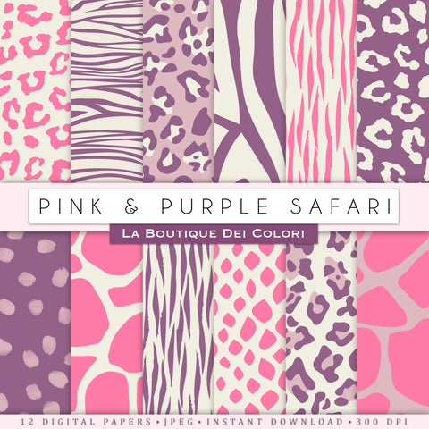 Pink and Purple Animal Prints Digital Paper - La Boutique Dei Colori