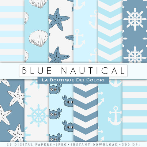 Baby Blue Nautical Digital Paper - La Boutique Dei Colori