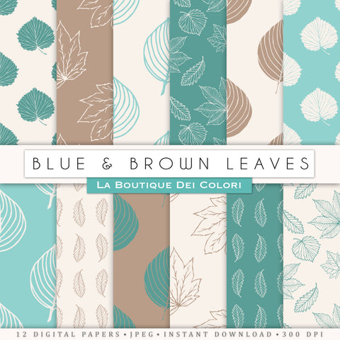 Blue and Brown Leaves Digital Paper - La Boutique Dei Colori