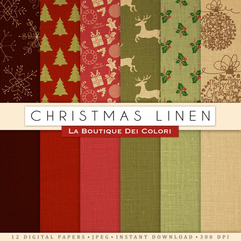 Linen Christmas Digital Paper - La Boutique Dei Colori