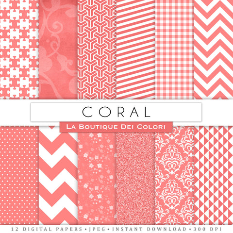 Coral Digital Paper - La Boutique Dei Colori