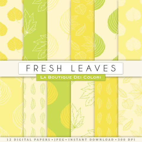Yellow and Green Leaves Digital Paper - La Boutique Dei Colori