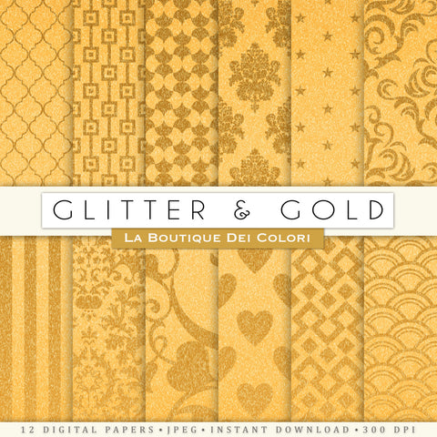 Solid Gold Gitter Digital Paper - La Boutique Dei Colori