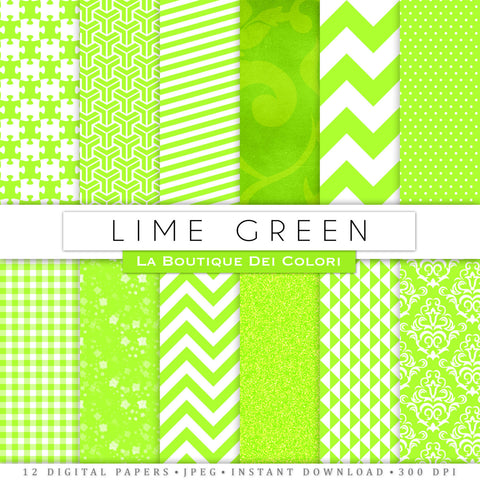 Lime Green and White Digital Paper - La Boutique Dei Colori