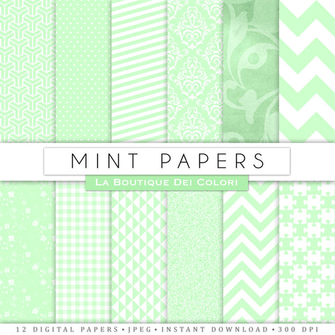 Mint Green and White Digital Paper - La Boutique Dei Colori
