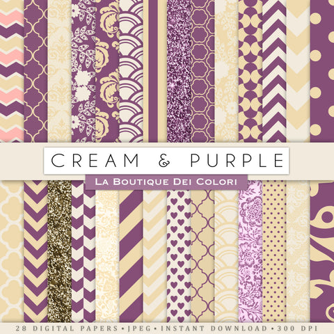 Cream and Purple Digital Paper - La Boutique Dei Colori