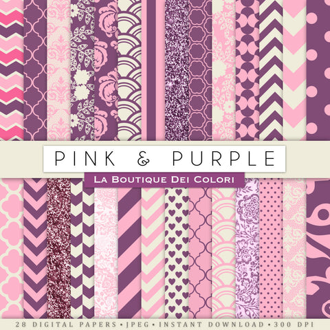 Pink and Purple Digital Paper Bundle - La Boutique Dei Colori