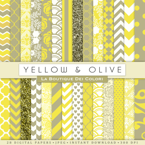 Yellow and Olive Digital Paper - La Boutique Dei Colori