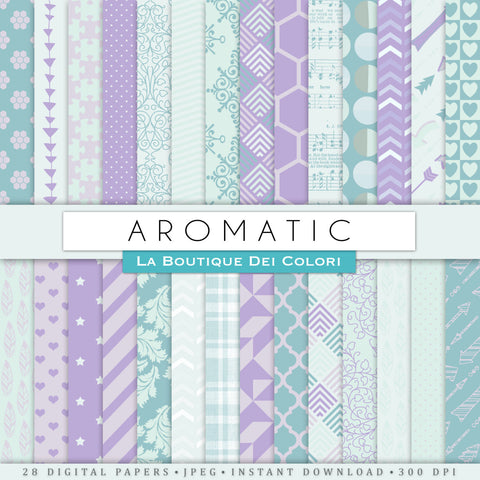 Aromatic Teal and Lavender Digital Paper - La Boutique Dei Colori