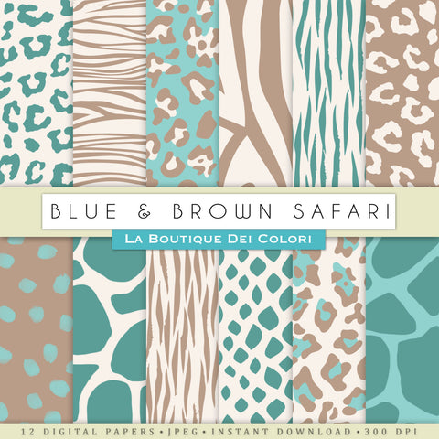 Blue and Brown Animal Prints Digital Paper - La Boutique Dei Colori
