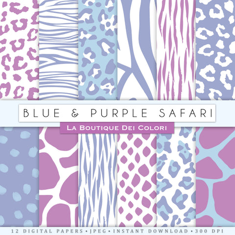 Blue and Purple Animal Print Digital Paper - La Boutique Dei Colori