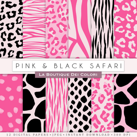 Pink and Black Animal Prints Digital Paper - La Boutique Dei Colori