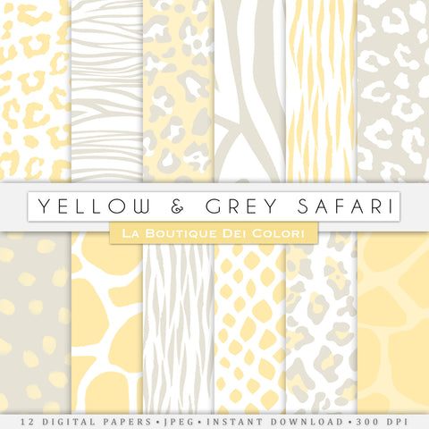 Yellow and Gray Animal Prints Digital Paper - La Boutique Dei Colori