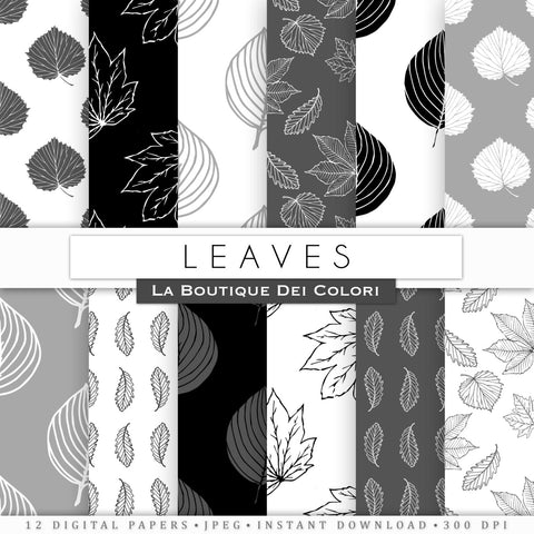 Black and White Leaves Digital Paper - La Boutique Dei Colori