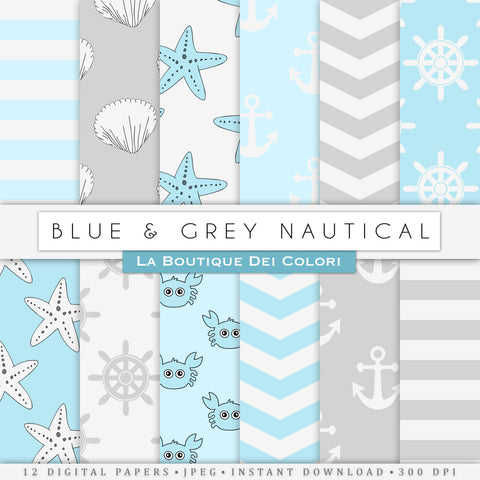 Blue and Gray Nautical Digital Paper - La Boutique Dei Colori