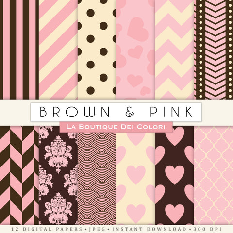 Pink and Brown Digital Paper - La Boutique Dei Colori