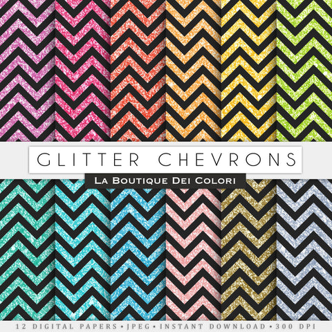 Black Glitter Chevron Digital Paper - La Boutique Dei Colori