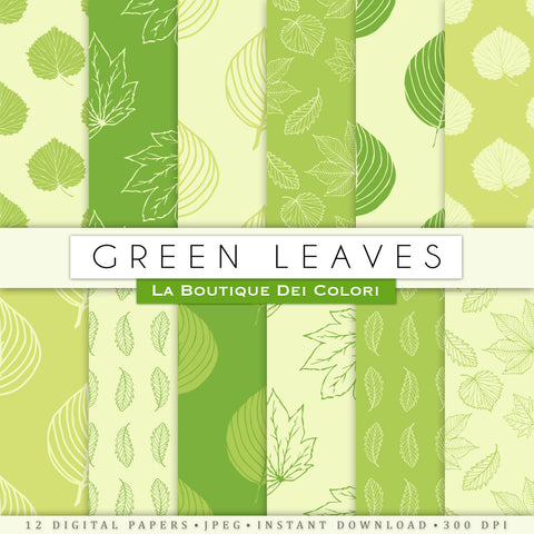 Light Green Leaves Digital Paper - La Boutique Dei Colori