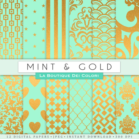 Mint Green and Gold Digital Paper - La Boutique Dei Colori
