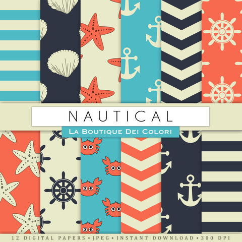 Nautical Party Digital Paper - La Boutique Dei Colori