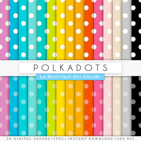 Big Polka-dots Digital Paper - La Boutique Dei Colori