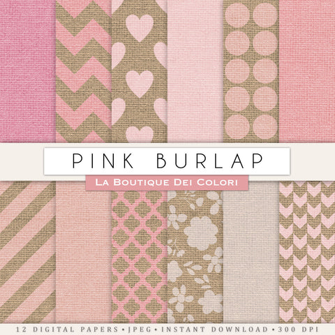 Girly Pink Burlap Digital Paper - La Boutique Dei Colori