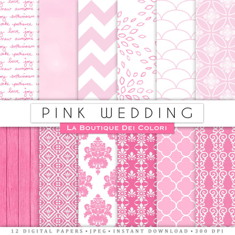 Pink Wedding Digital Paper - La Boutique Dei Colori