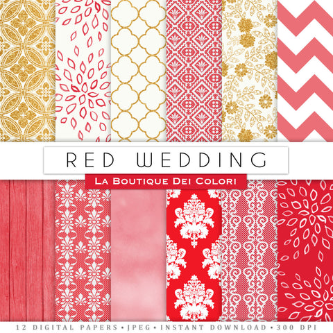 Red and Gold Wedding Digital Paper - La Boutique Dei Colori