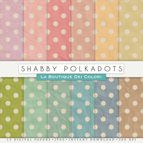 Shabby Polka-Dots Digital Paper - La Boutique Dei Colori