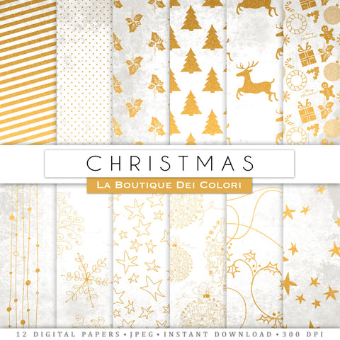 White and Gold Christmas Digital Paper - La Boutique Dei Colori