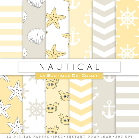Yellow and Gray Nautical Digital Paper - La Boutique Dei Colori
