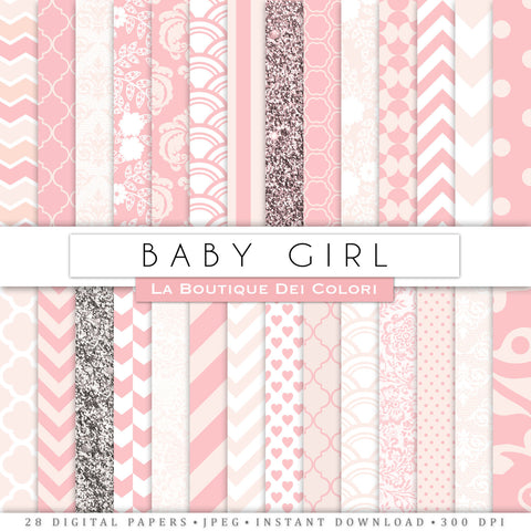 Baby Pink Digital Paper - La Boutique Dei Colori