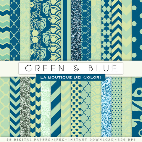 Green and Blue Digital Paper - La Boutique Dei Colori