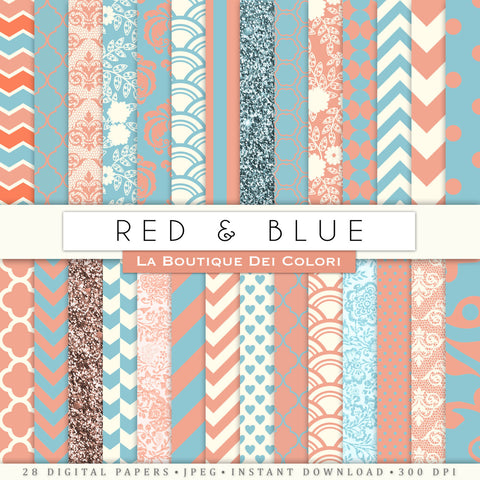 Red and Blue Digital Paper - La Boutique Dei Colori