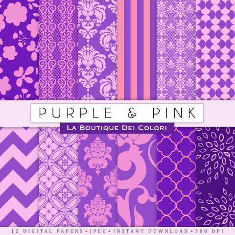 Pink and Purple Digital Paper - La Boutique Dei Colori