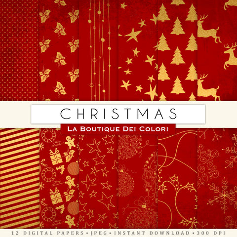 Red and Gold Christmas Digital Paper - La Boutique Dei Colori