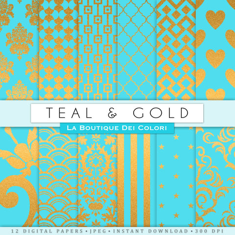 Turquoise and Gold Digital Paper - La Boutique Dei Colori