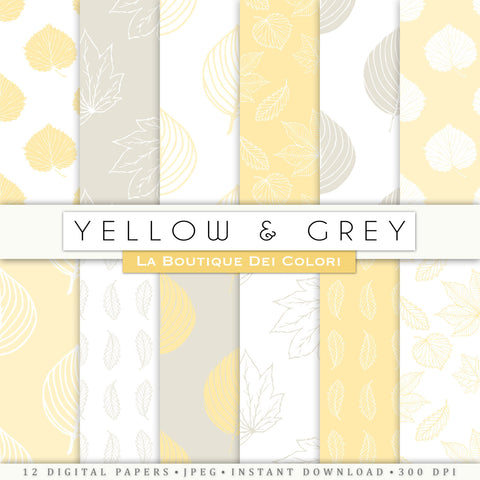 Yellow and Gray Leaves Digital Paper - La Boutique Dei Colori