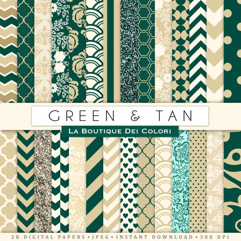 Green and Tan Digital Paper - La Boutique Dei Colori