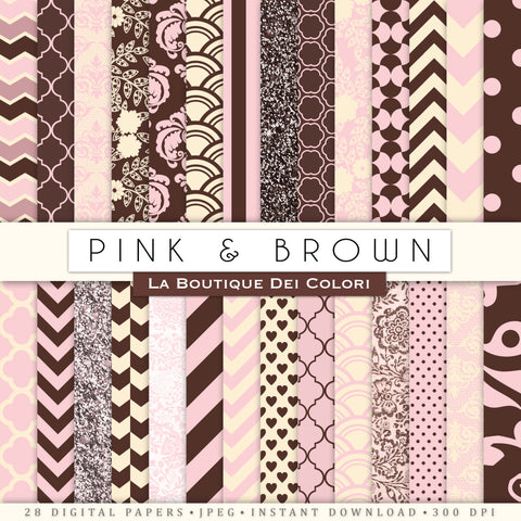Pink and Brown Digital Paper Bundle - La Boutique Dei Colori