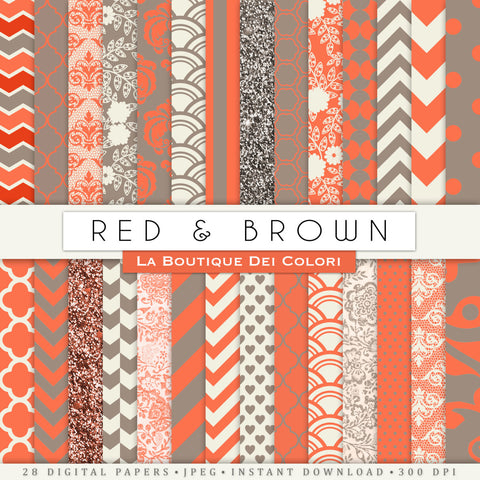 Red and Brown Digital Paper - La Boutique Dei Colori