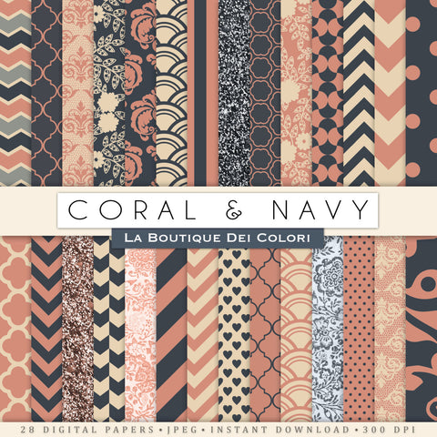 Vintage Coral and Navy Digital Paper - La Boutique Dei Colori